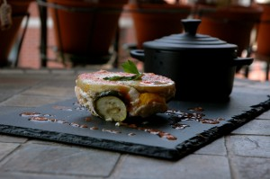 Millefeuille d'aubergine, courgette et ricotta