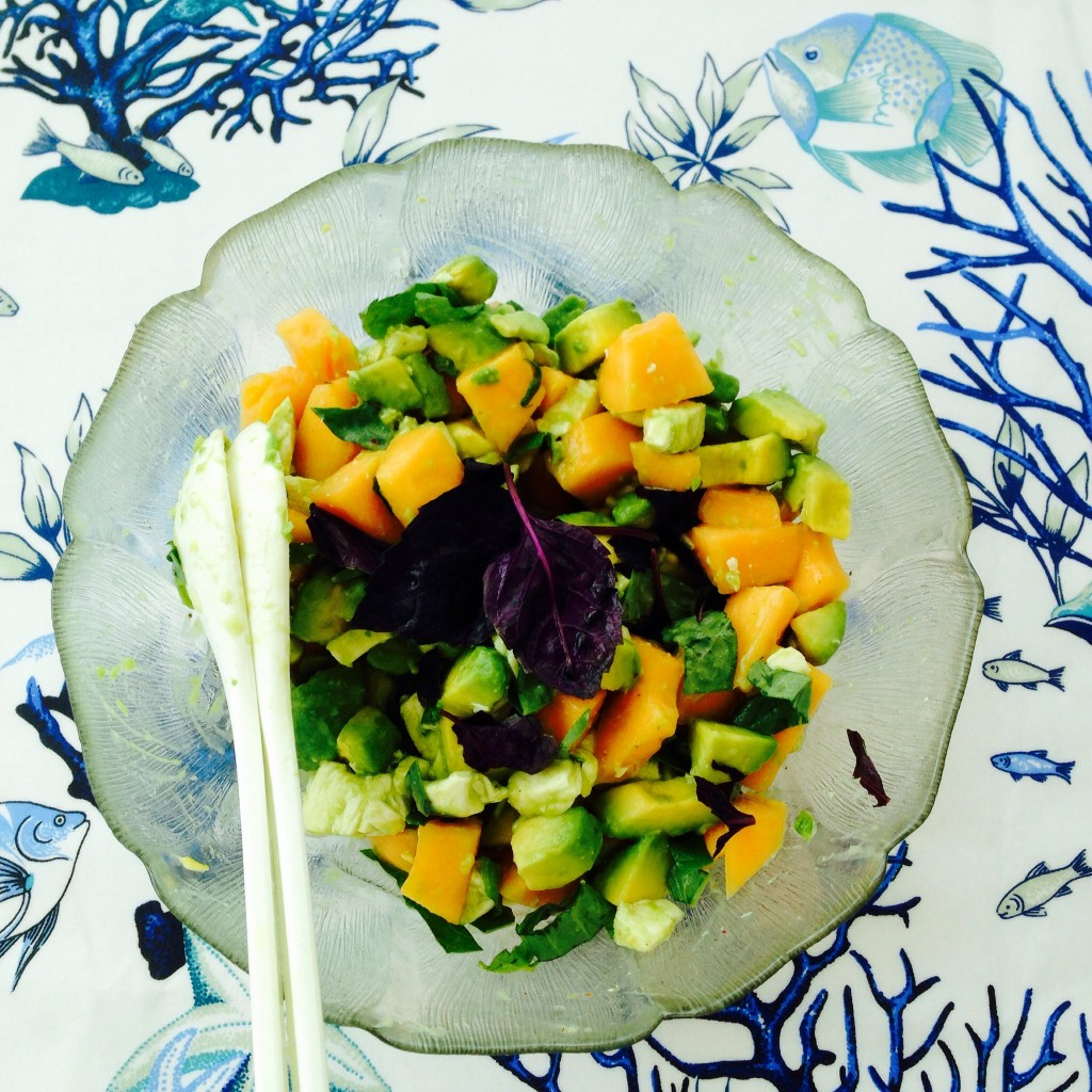 Salade melon, avocat et mozzarella