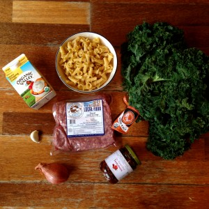 Campanelle sauce crémeuse au chou kale, saucisse et tomates séchées, les ingrédients