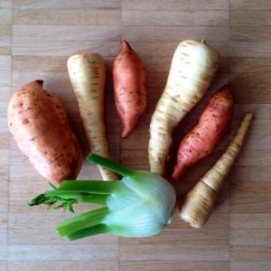 Patate douce, panais et fenouil